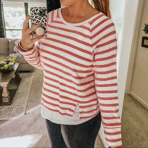 Red and white cropped long sleeve sweater